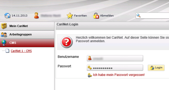 CariNet Login IE 11 - 0