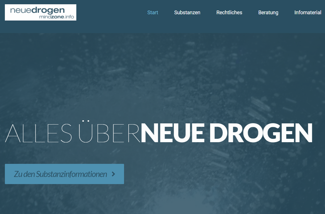 Screenshot der Website des Infoportals neue Drogen