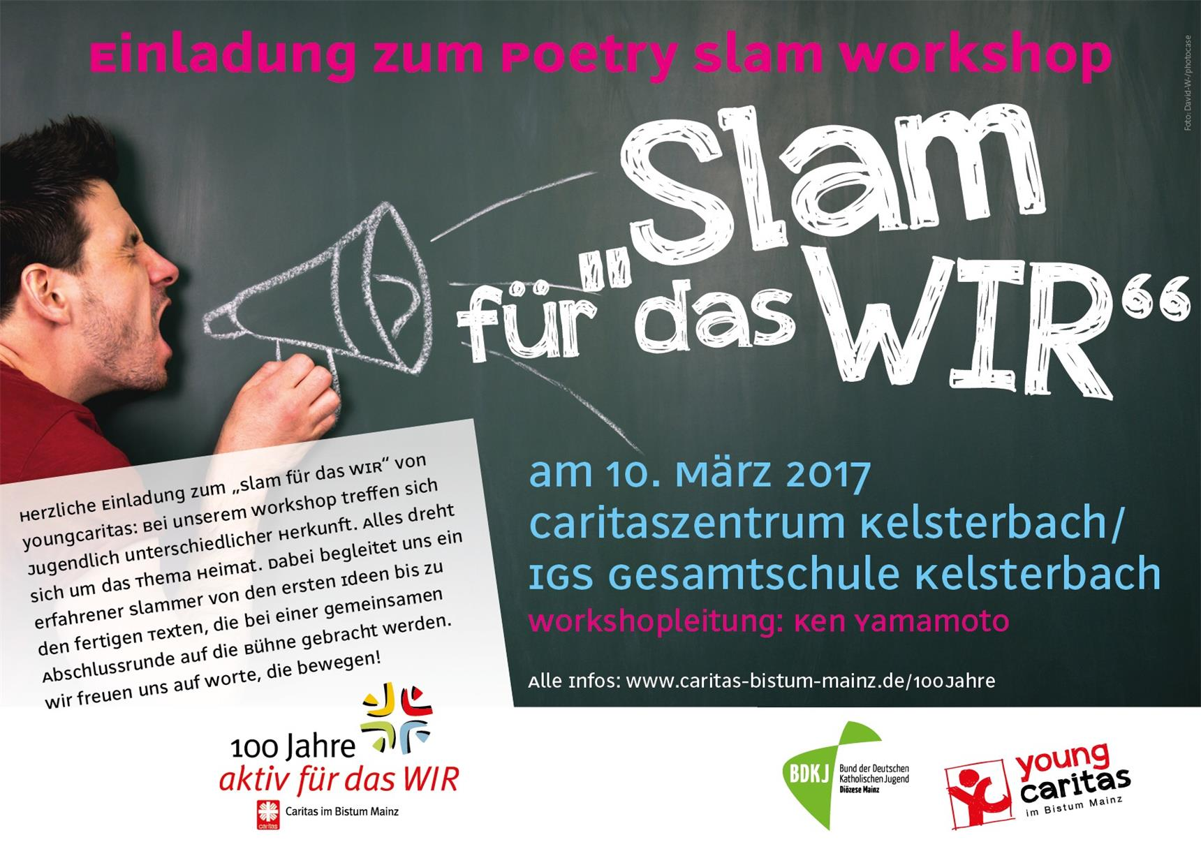 Flyer Poetry Slam Workshop Kelsterbach