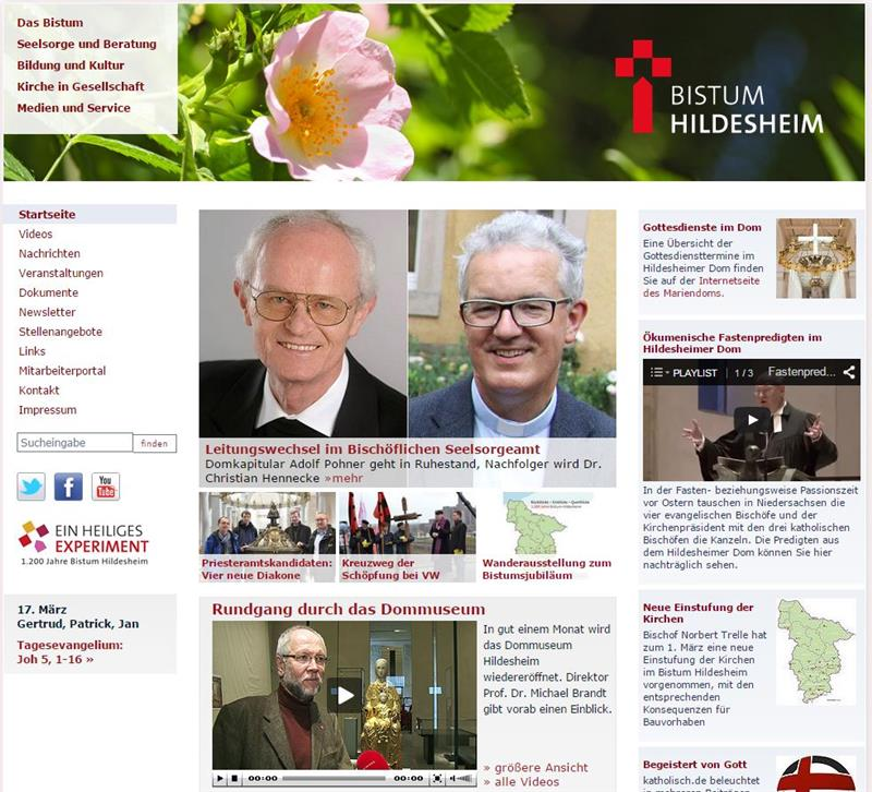 Website Bistum Hildesheim