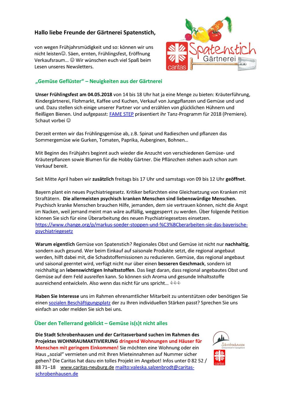 Newsletter04-18 Gärtnerei Spatenstich