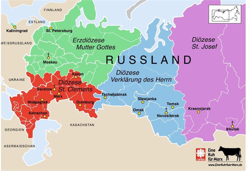 Karte Russland.Bistum St Clemens