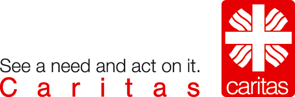 englisches Logo Caritas Deutschland - See a need and act on it